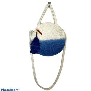 Lucky Brand Ivory and Blue Round Woven Bag